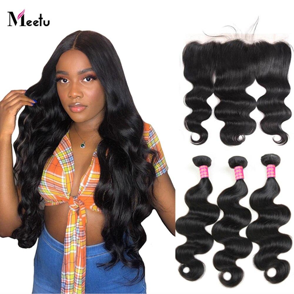 Meetu 4x4 Lace Closure With Bundles Body Wave Bundles with 13X4 Frontal Malaysian Hair Bundles with Frontal Non Remy